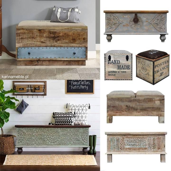 ławka, skrzynia, przedpokój, lustro, industrialne, loftowe, indyjskie, kolonialne, rzeżbione, orientalne, malowane, kolorowe, lampy, palisander, akacja, mango, drewniane, drewno, recykling