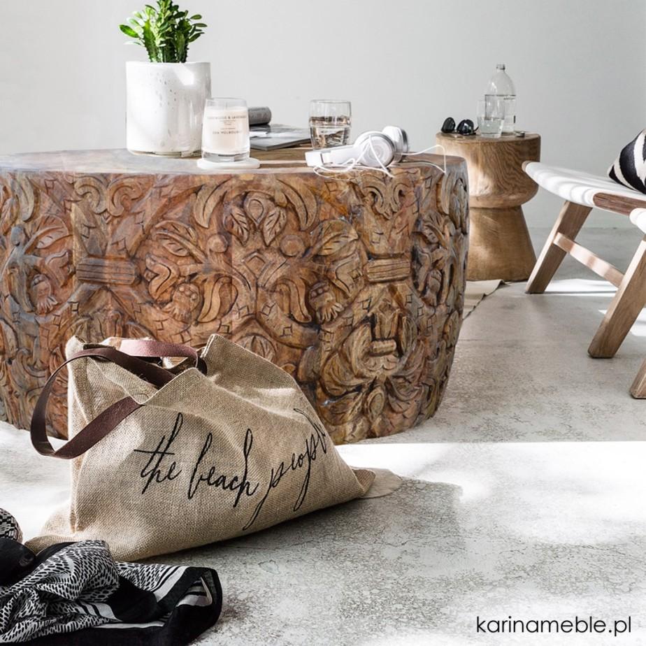 stolik, rzeżbione, loftowe, industrialne, meble, salon, loft, mango, drewniane, drewno, inyjskie, kolonialne
