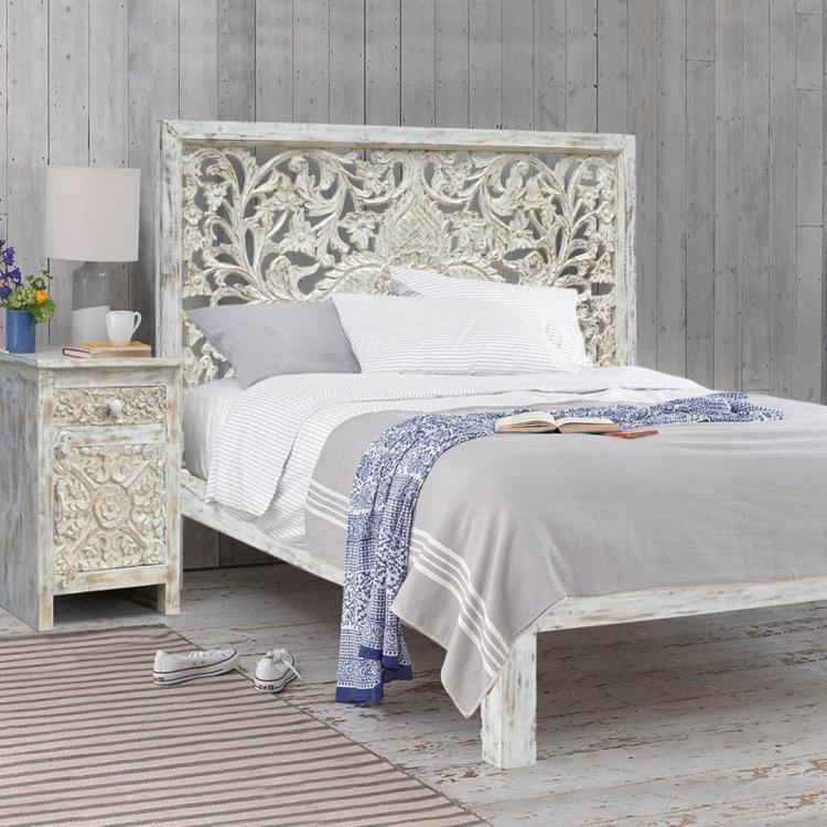meble indyjskie, meble kolonialne, meble orientalne, meble drewniane, łóżko białe