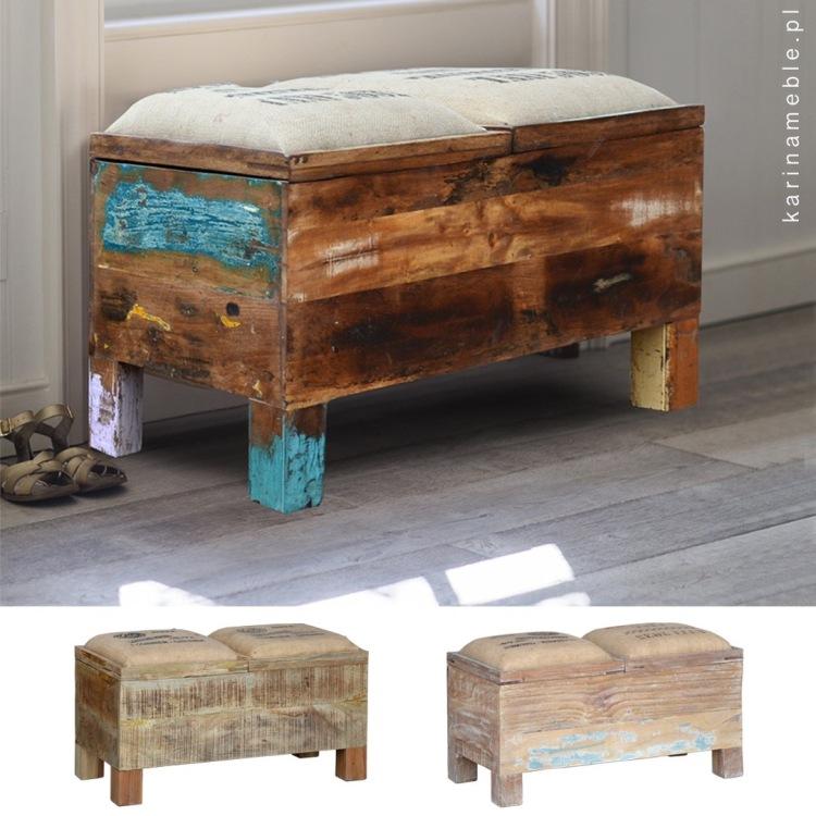 Meble loftowe - indyjska ławka z litego drewna z recyklingu