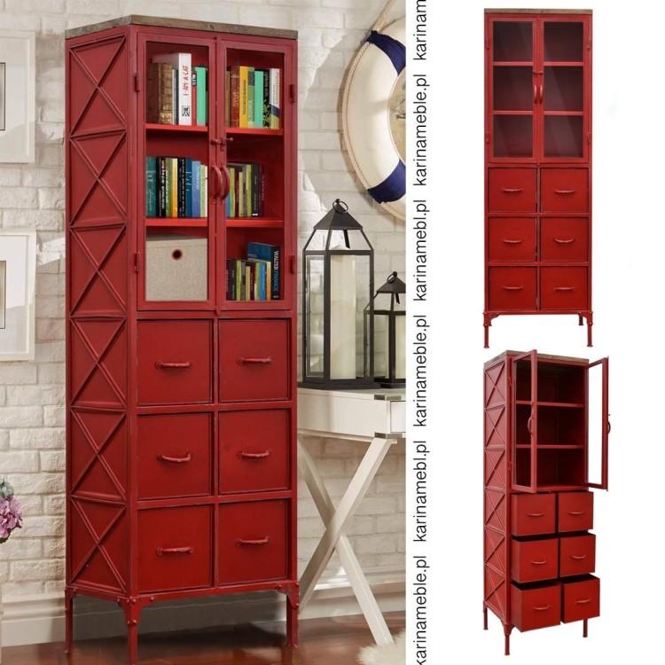 meble industrialne loftowe metalowa witryna czerwona