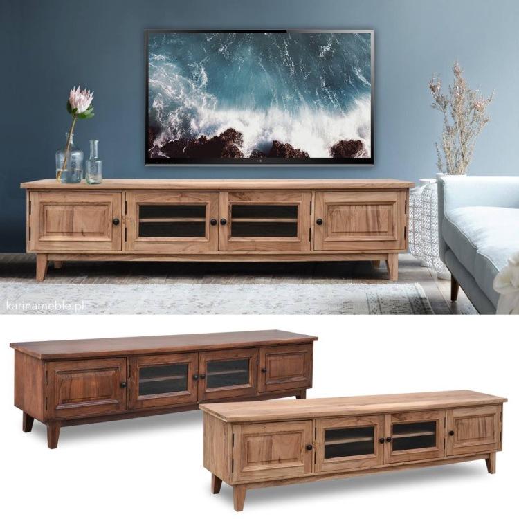 meble drewniane kolonialne stylowe szafka rtv akakcja indyjska jasne drewno ciemne brazowe salon