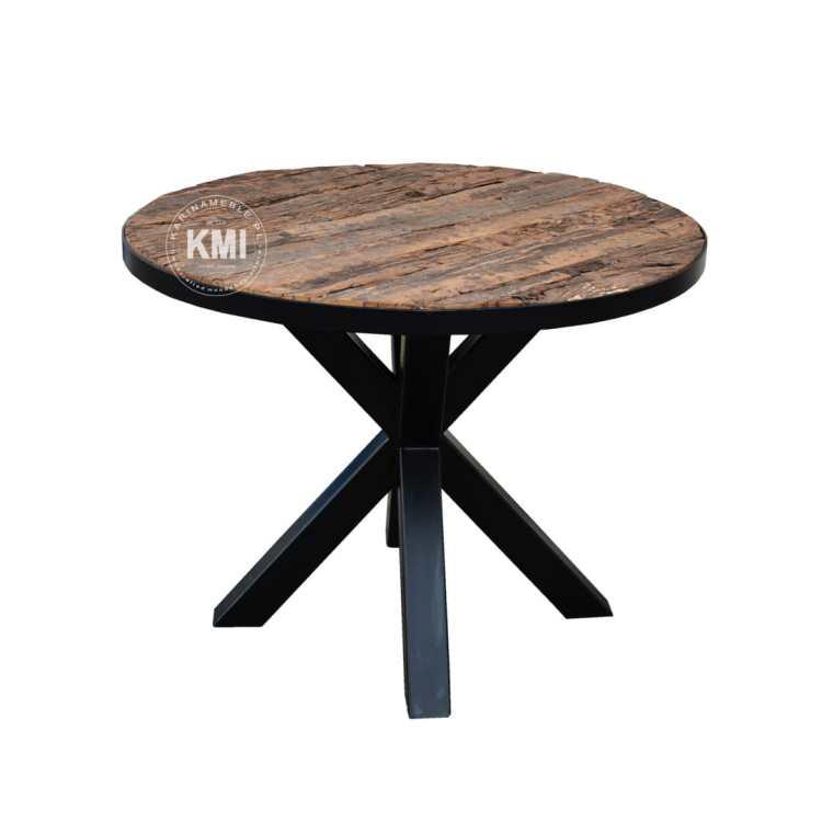 meble industrialne loftowe stół okrągły jadalnia metalowe nogi stare drewno nowczesny recykling
