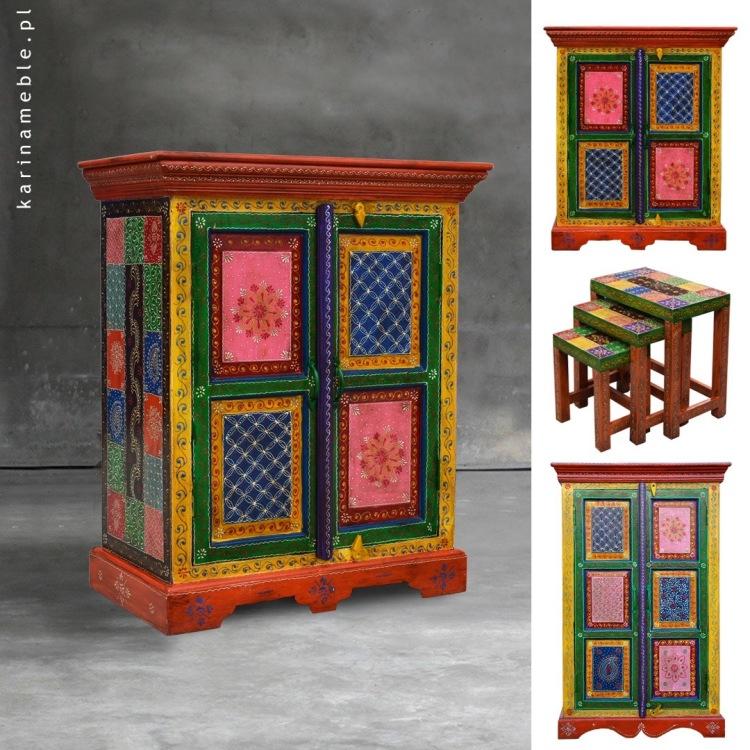 meble indyjskie kolonialne kolorowe malowane boho orientalne egzotyczne wzory komoda