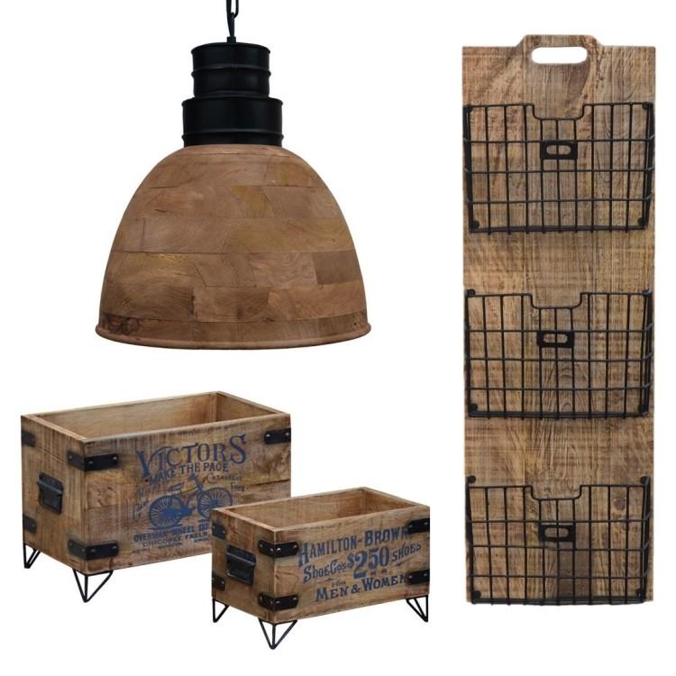 meble loftowe industrialne drewniane vintage postarzane mango dekoracje kosz metalowe wareszawa