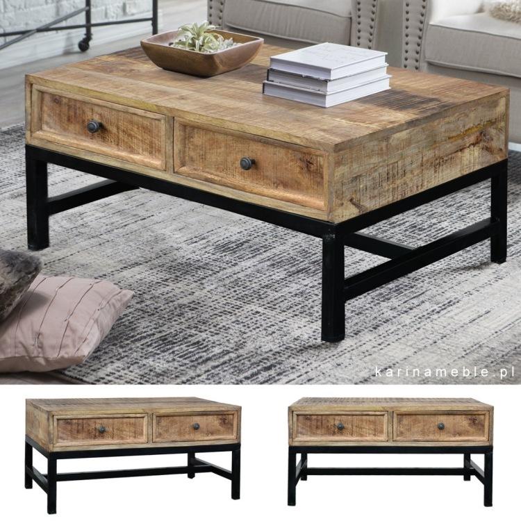 meble loftowe industrialne stolik ława drewno mango postarzany stary metlowe nogiszuflady