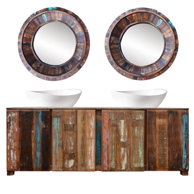 meble loftowe industrialne salon recykling komoda lustro przecierane kolorowe star drewno