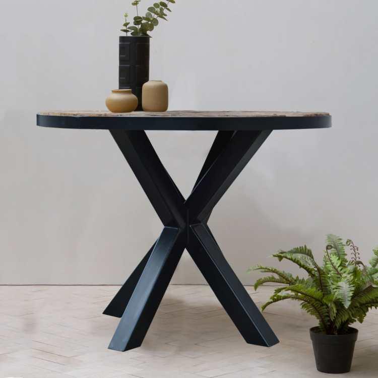meble loftowe stoł drewno metal okragly jadalnia salon nowoczesny