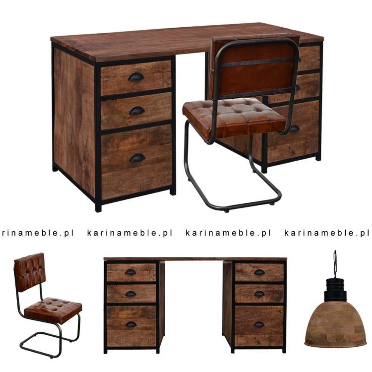 meble loftowe industrilane biurko krzeslo skora metal drewno vintage