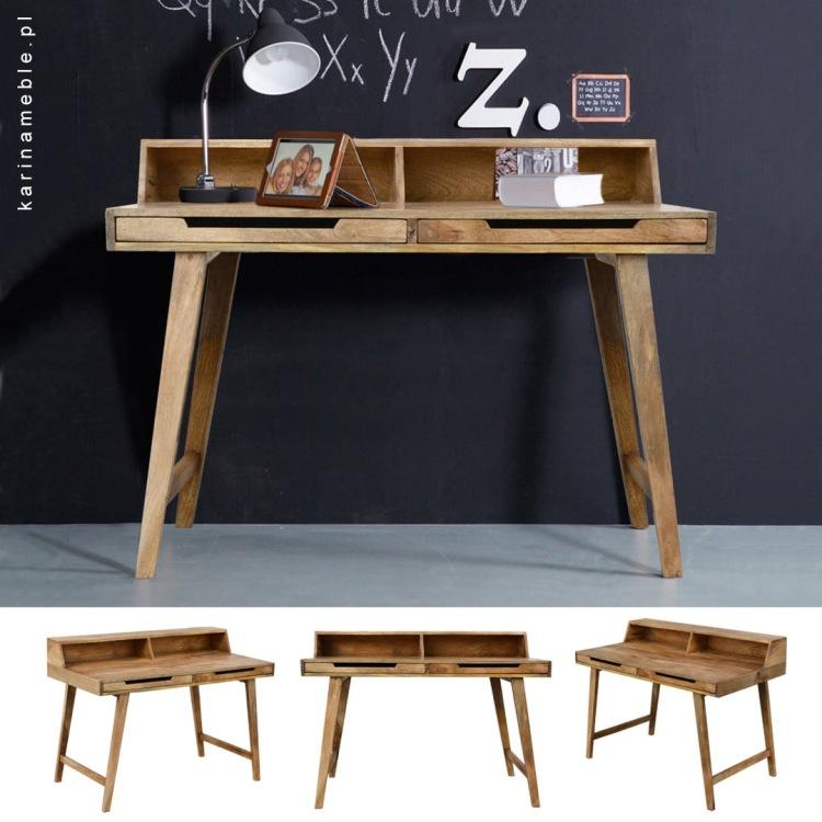 meble salon gabinet drewniane biurko skandynawskie sekretarzyk mango