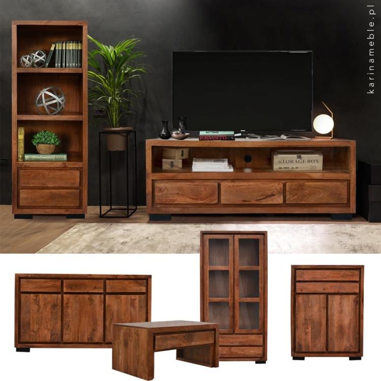 meble drewniane kolonialne nowoczesne indyjskie salon komoda rtv
