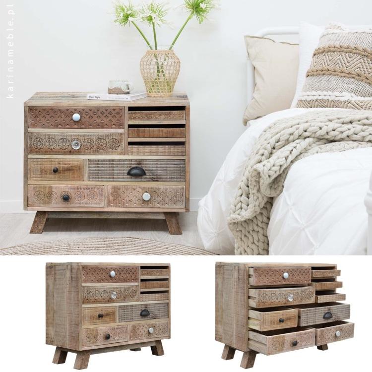 meble drewniane vintage indyjskie rzezbione orientalne loftowe szafka komoda sypialna