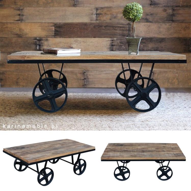 meble industrialne loftowe stolik drewno stare vintage na metalowych kolach