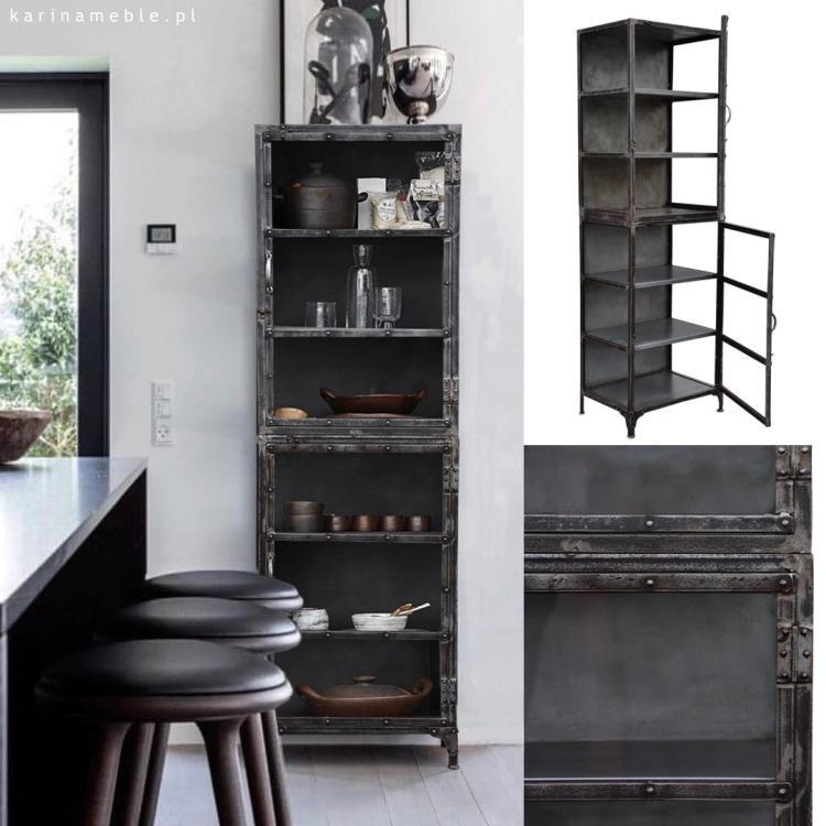 meble industrialne metalowe biblioteczka regał witryna salon jadalnia