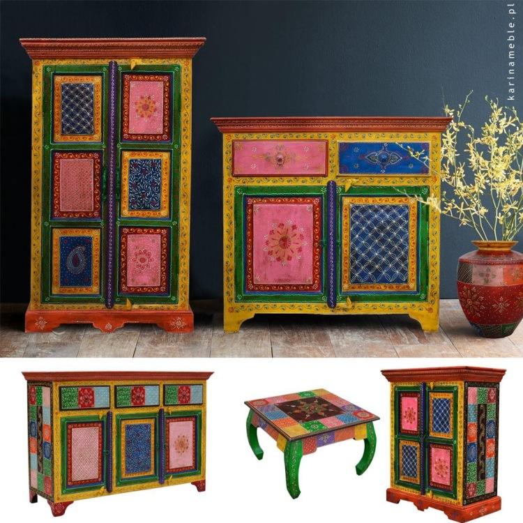 meble indyjskie boho orientalne komoda szafka kolorowe kolonialne
