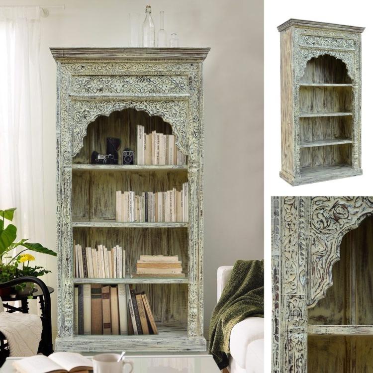 meble-indyjskie-drewniane-rzeźbione-biblioteczka