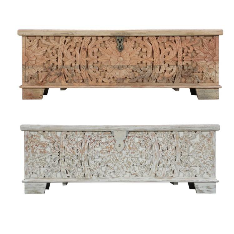meble indyjskie koloniane drewniane skrzyni rzeźbiona kufer sypialnia na koce buty bielone