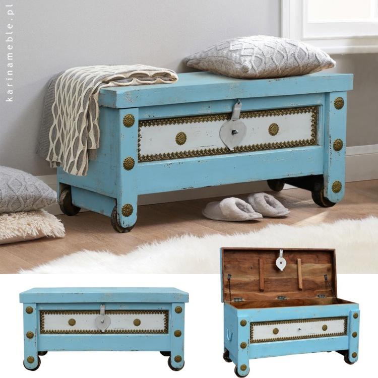 meble indyjskie orientalne kolorowa skrzynia niebieska lawka przedpokuj salon kufer boho