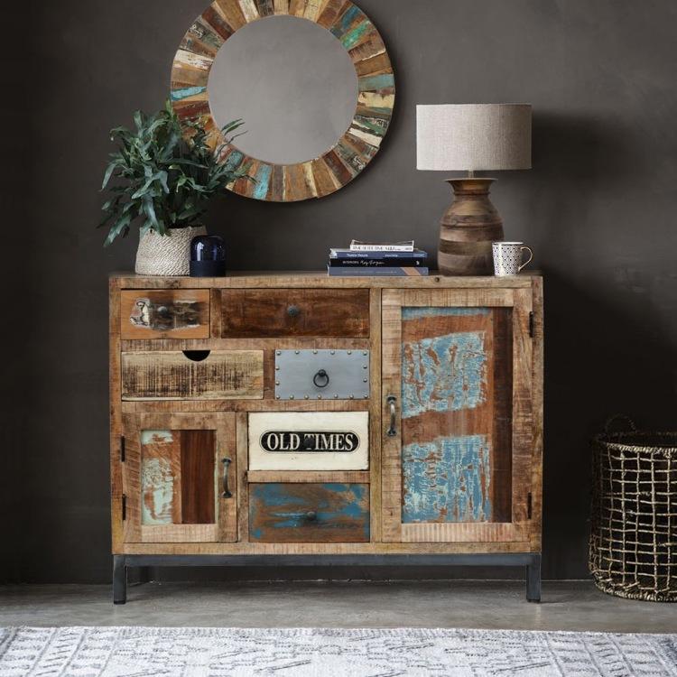meble loftowe drewniane recykling metalowe komoda vintage industrialne
