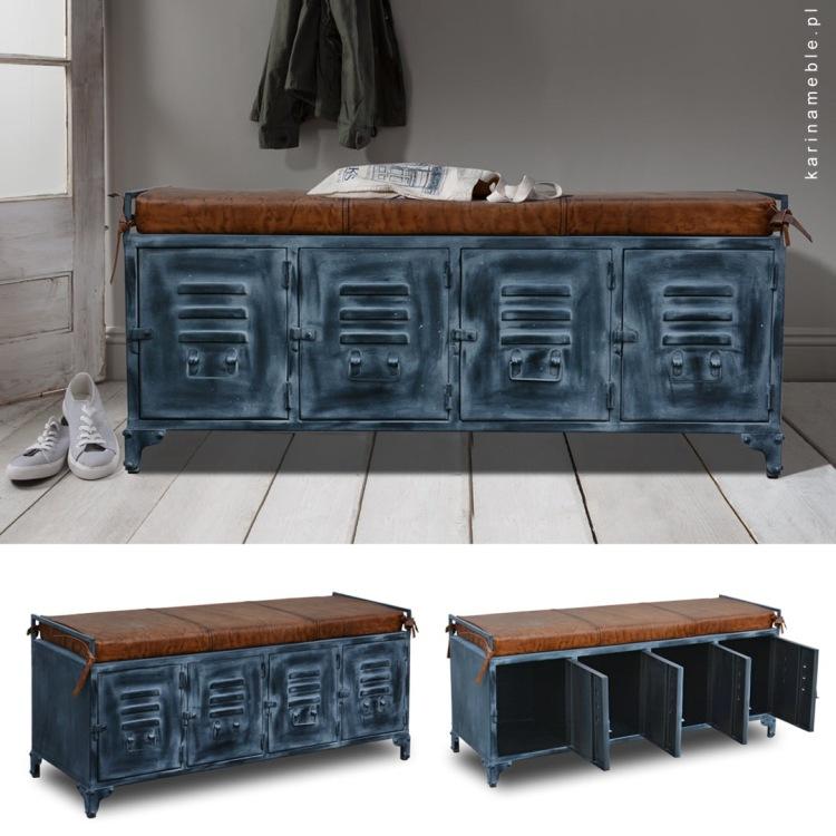 meble metalowe loftwe szafka na buty czarna lawka schowek poduszka