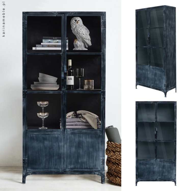 metalowa witryna loft meble industrialne czarna salon jadalnia nowczesne