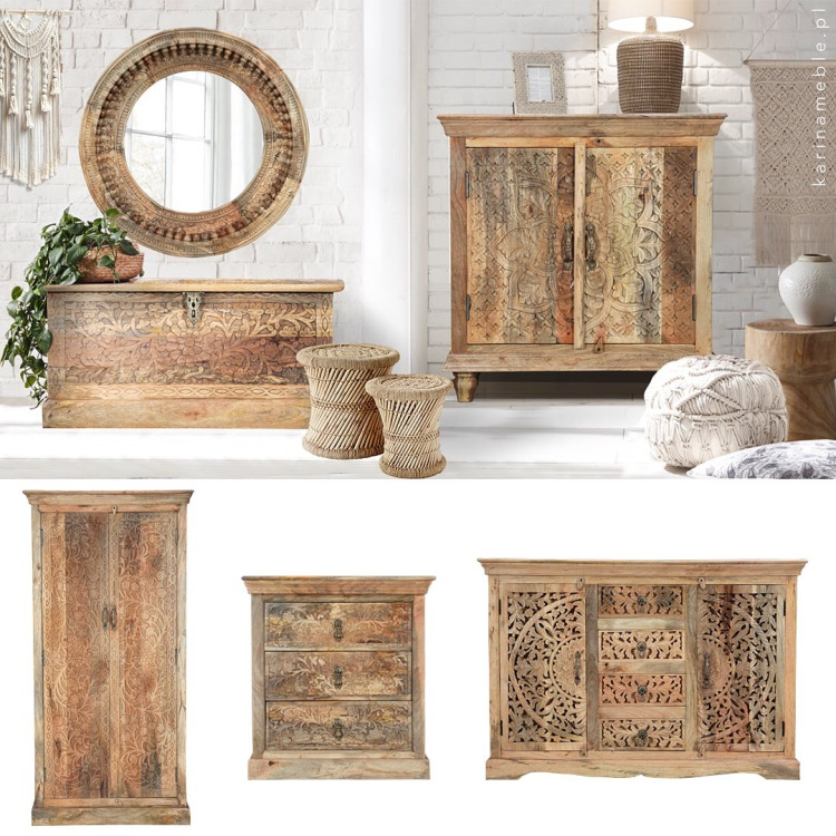 meble drewniane boho komoda salon   orientalne rzezbiona indyjskie