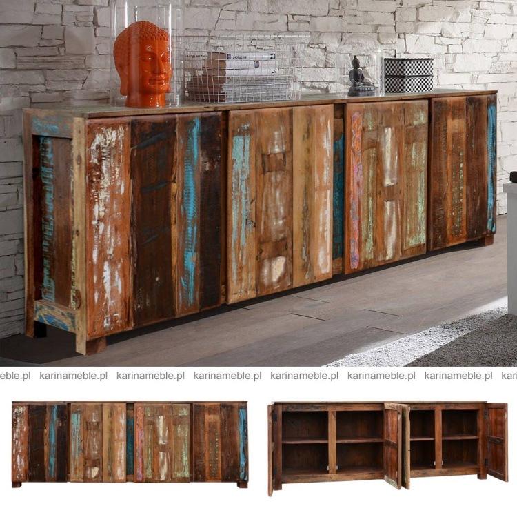 meble drewniane recykling komoda loftowa