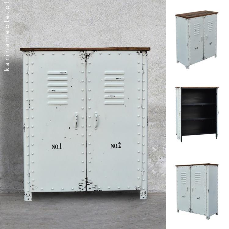 meble industrialne metalowe komoda loft salon biala