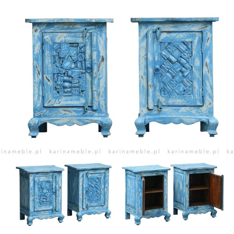 meble indyjskie kolorowe niebieska szafka kolonialna boho dreniana