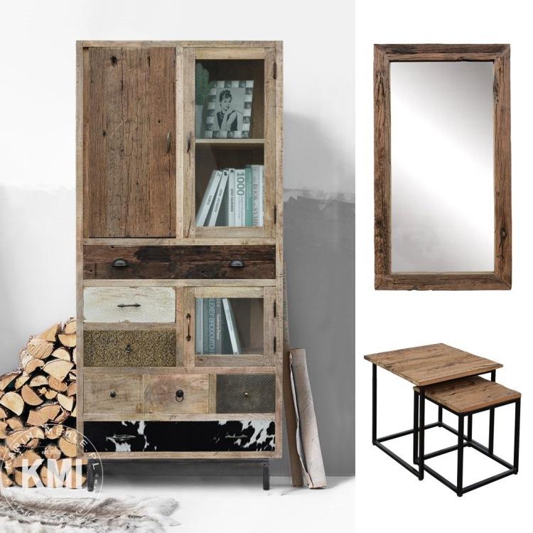 meble loftowe industrialne stare drewno mang metal komoda witryna salon