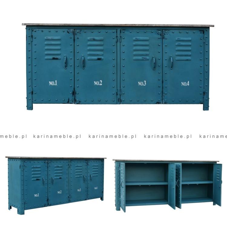metalowa loftowa szafka komoda salon sypialnia niebieska meble industrialne