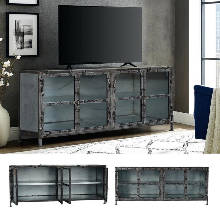 metalowa szafka komoda witryna loftowa styl industrialny salon