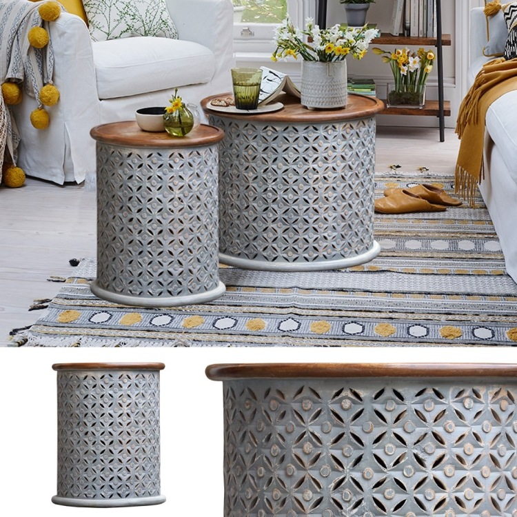 stolik okragly indyjski marokanski orientalny rzezbiony salon szary