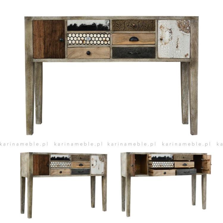 konsola-vintage-loft-bielona-drewniana-salon-przedpokoj