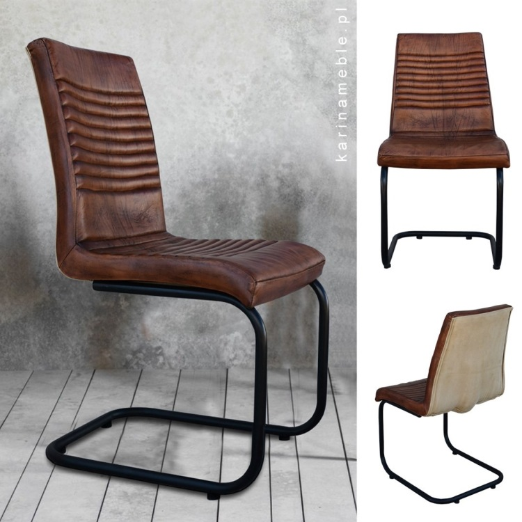 krzesło skora loft industrialne