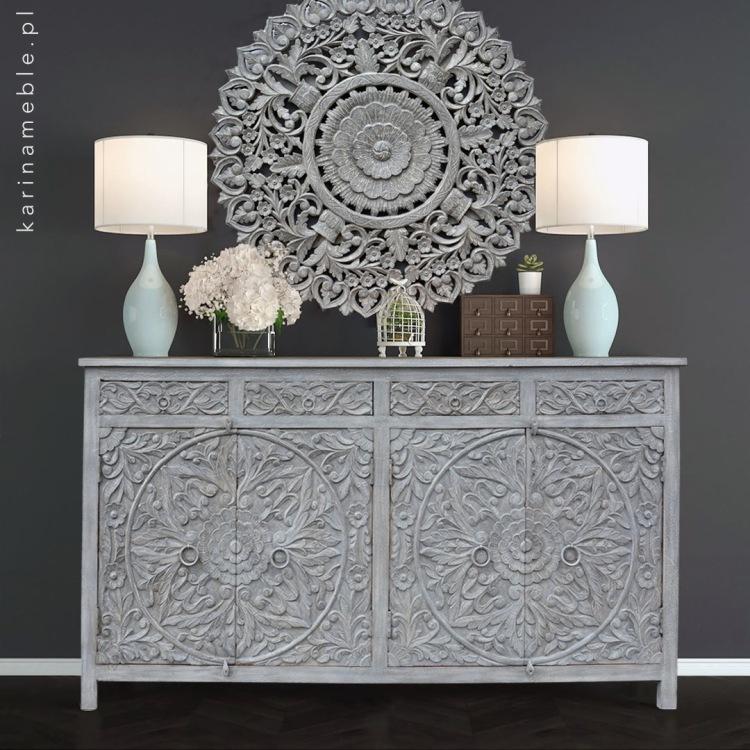meble salon boho komoda szara indyjska lite drewno panel