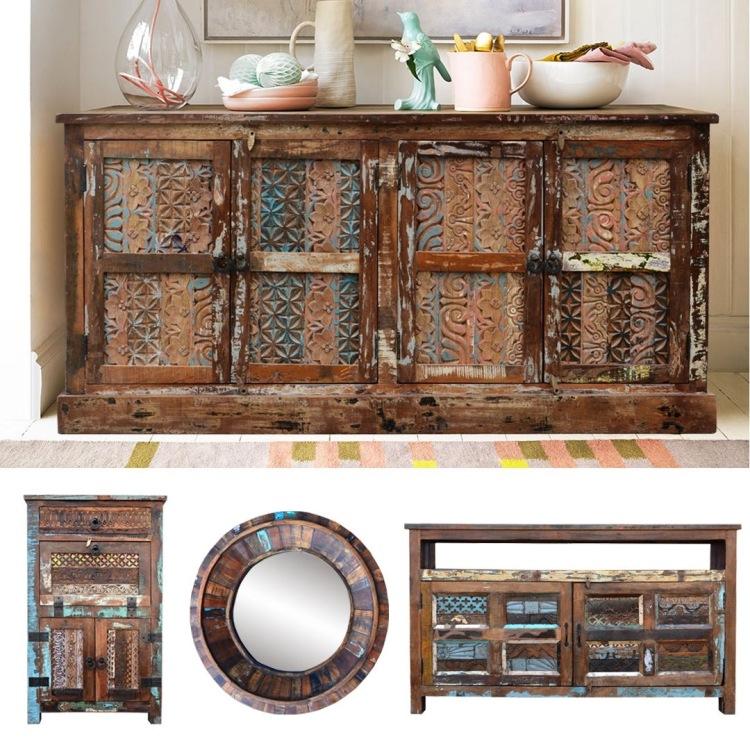 meble drewniane recykling vintage komoda loft kolorowa rzezbiona indyjska