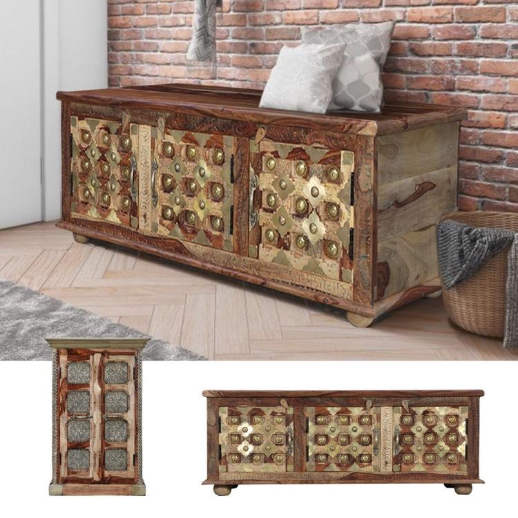 meble indyjskie orientalne ławka skrzynia mosiądz