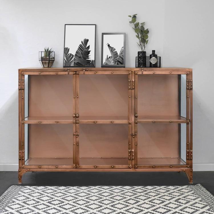 meble loftowe metalowe komoda witryna copper mosiadz salon industrialny