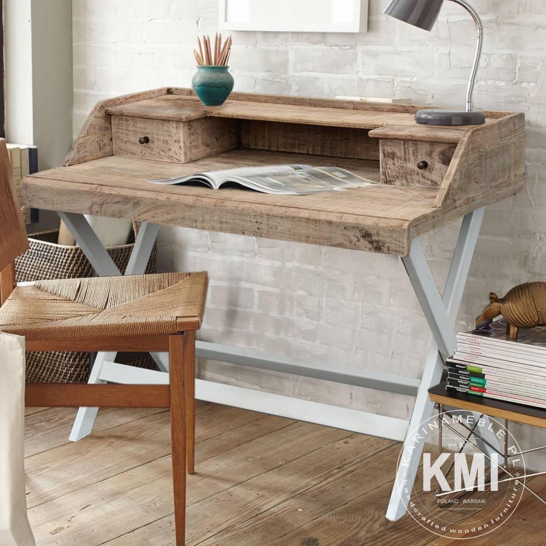 biurko industrialne zrobione z litego drewna mango