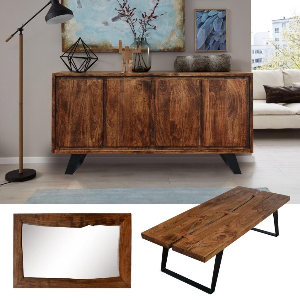 stolik, komoda i lustro industrialny zrobione z litego drewna