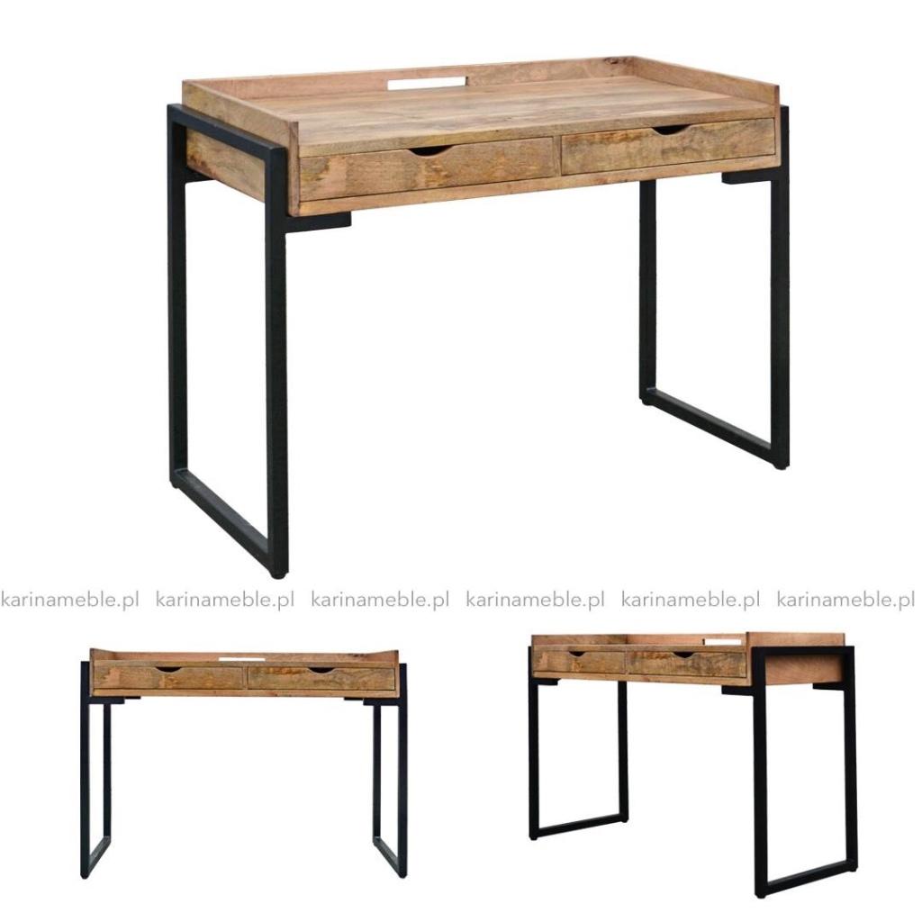 loftowe biurko industrialne zrobione z litego drewna mango