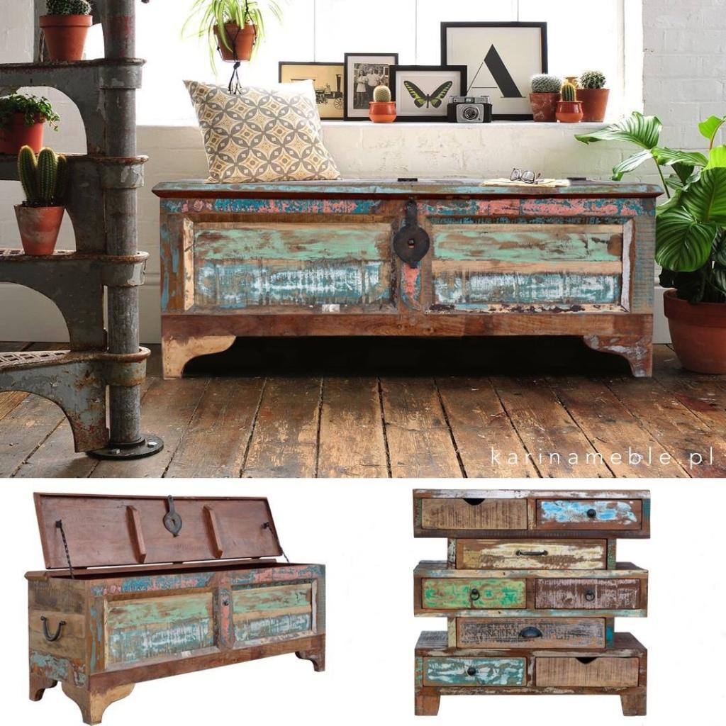 meble indyjskie - skrzynia i komoda z drewna z recyklingu