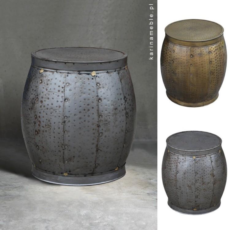 pufa metalowa srebrna zlota loft-vintage stolik salon