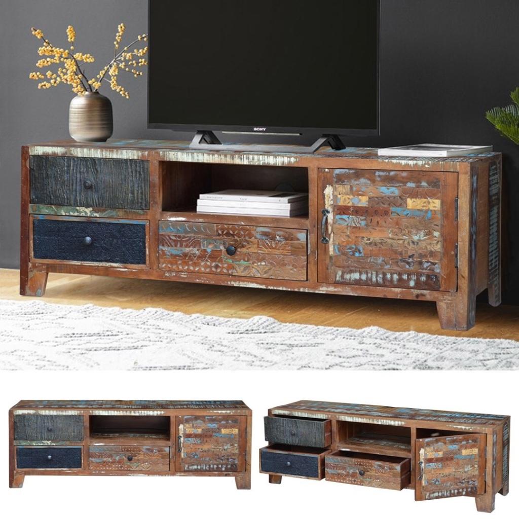 industrialna szafka loftowa kolorowa zrobione z drewna z recykling