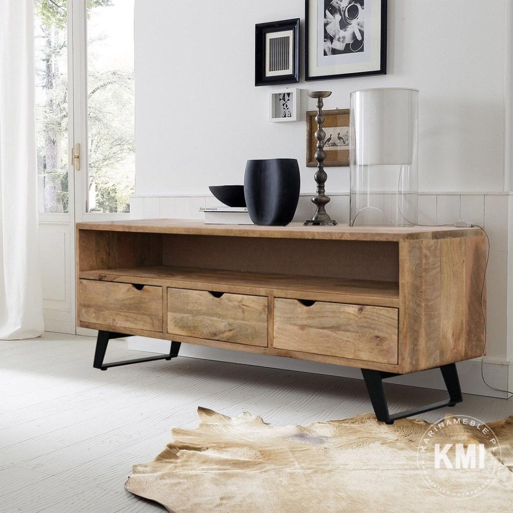 industrialna szafka rtv loftowa drewno mango i metalowe nogi- karinameble