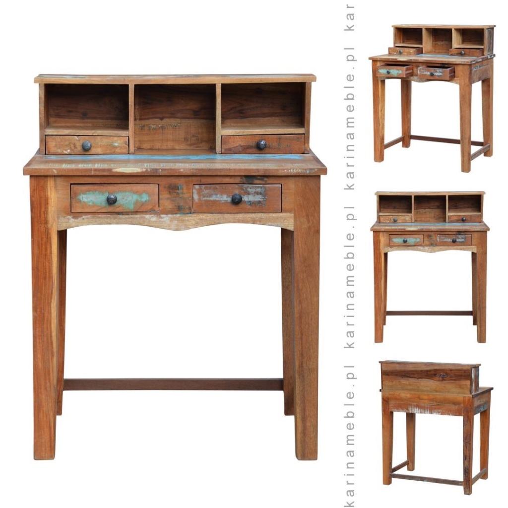 meble indyjskie, meble kolonialne, sekretarzyk, biurko, drewno z recyklingu