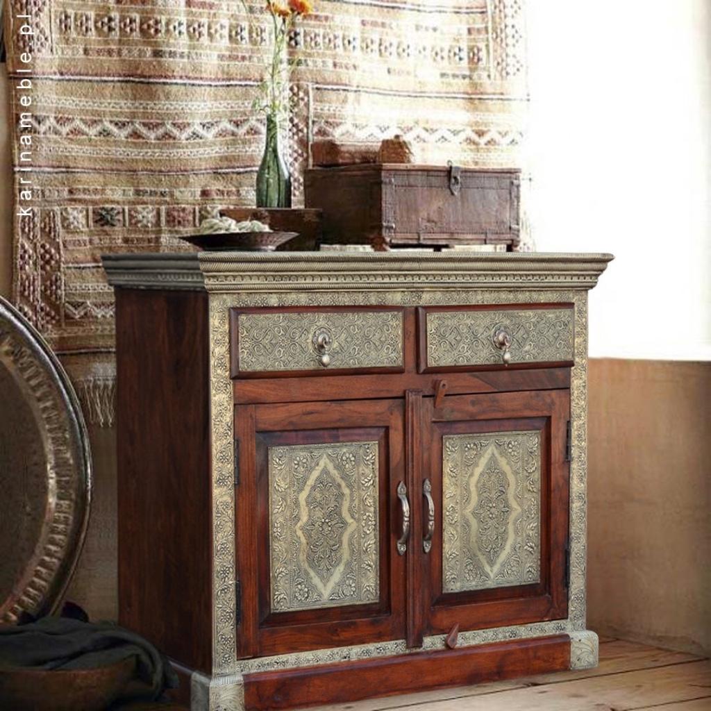 meble indyjskie, kolonialne, orientalne, drewniane - komoda mosiądz