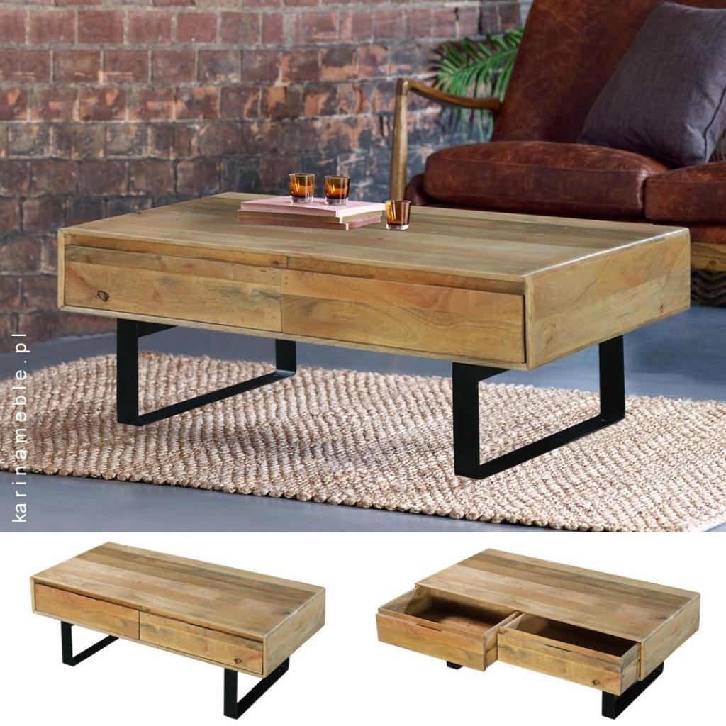 meble industrialne - loftowe stolik z drewno i z metal