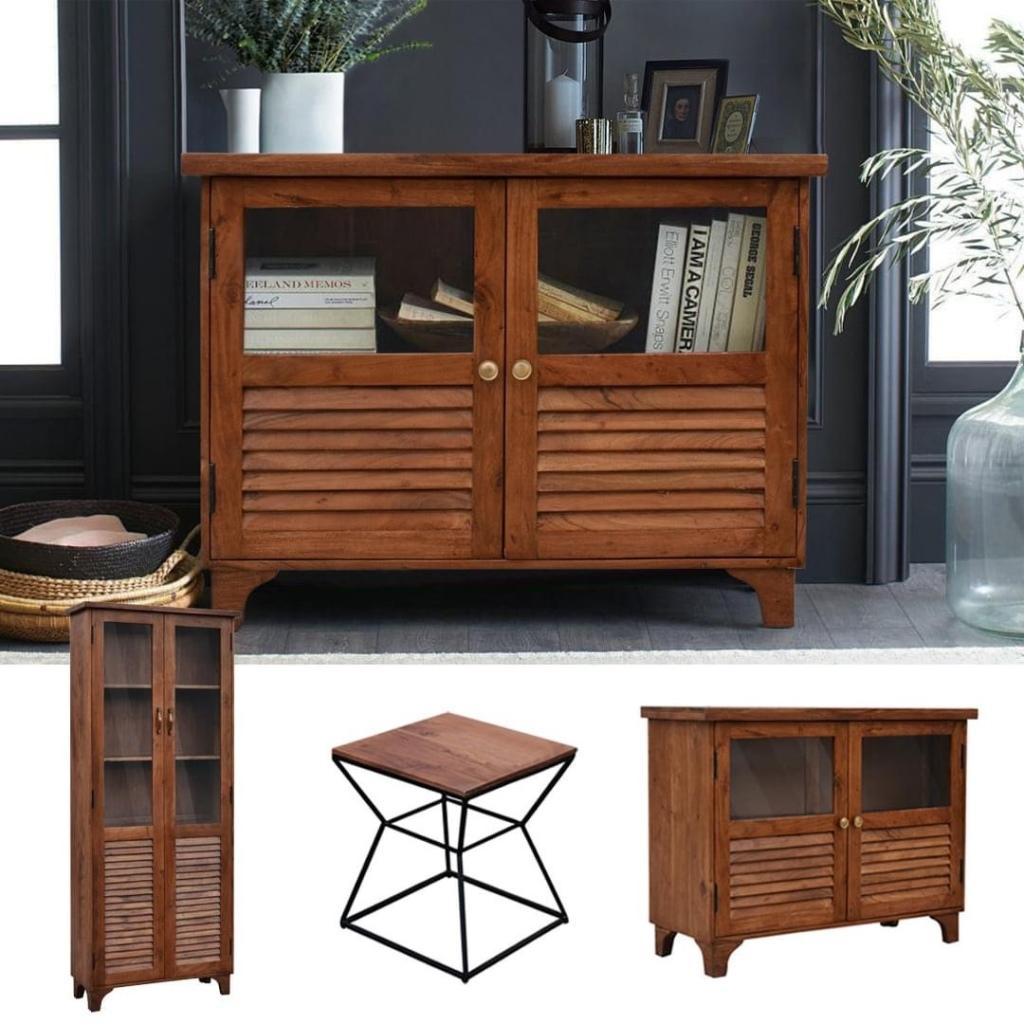meble indyjskie - kolonialna witryna, drewniana komoda, loftowe stolik